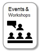 Events and Workshops with icons of people at workshop
